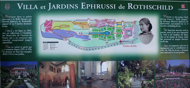 Ruusut Ranskan Rivieralla opastaulu Villa Ephrussi Ruusuenergiaa.fi